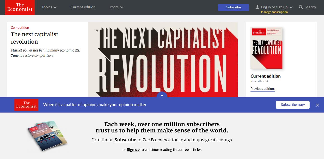 Screenshot 2018 11 17 The Economist World News Politics Economics Business Finance - Die 5 wichtigsten Ressourcen für Ökonomen im Internet